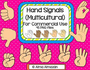 Hand Signals Clip Art for Commercial Use Multicultural