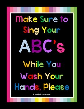 Hand Washing Sign- Help Your Students Remember to Wash The