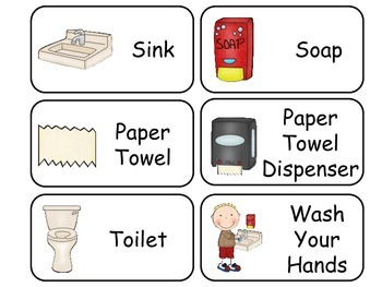 Hand Washing and Germs printable Picture Word Flash Cards.