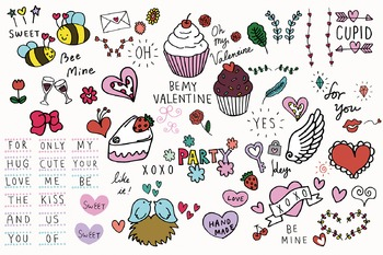 Hand-drawn Valentines Day Clip Art Package