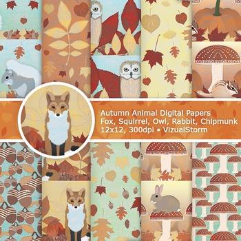 Handmade Autumn Animal Backgrounds - Fall Woodland Animal