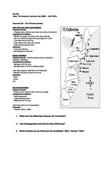 Handout #2:  The Thirteen Colonies