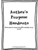 Handout Packet for Author's Purpose Webquest