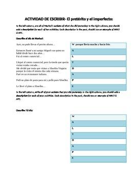 Handout- Spanish IMPERFECT verb tense with descriptions. (