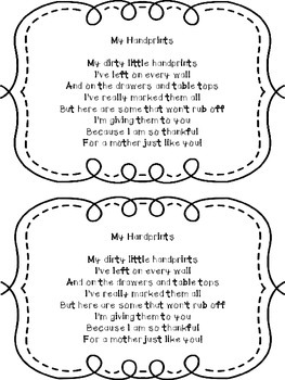 Handprint Poem -Freebie