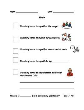 Hands Behaviour Checklist