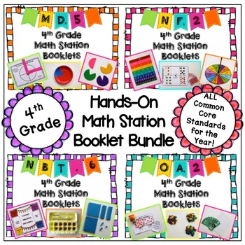 Math Station Hands-On Booklet Bundle - (All 4th grade Comm