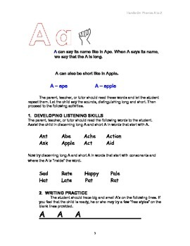 Hands-on Phonics A to Z - kinesthetic learning, including