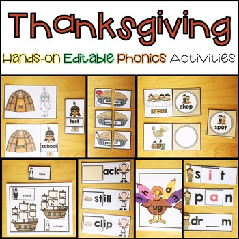 Hands-on Thanksgiving Word Work Activities