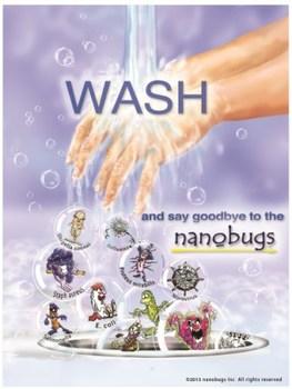 Handwashing Poster featuring the nanobugs