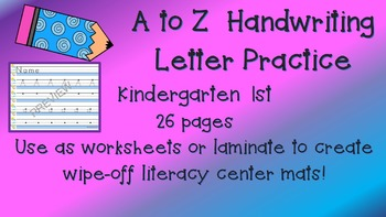 Handwriting A to Z Letter Writing Practice PACKAGE 26 p Up