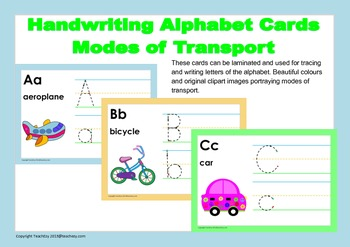 Handwriting Alphabet Cards portraying modes of Transport