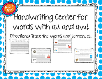 Handwriting Center for au and aw words