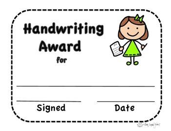 Handwriting Certificate, Certificate, Handwriting Award, O