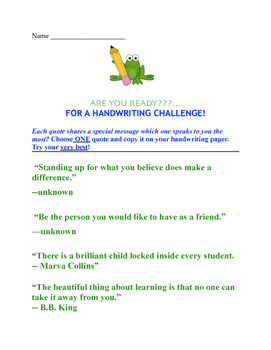 Handwriting Challenge!