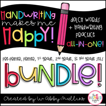 Handwriting Makes Me Happy! BUNDLE {All Dolch Words}