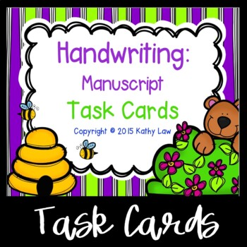Handwriting: Manuscript Task Cards