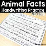 Handwriting Practice Animal Facts NO PREP: Grades 1,2,&3