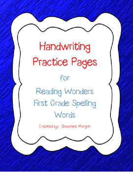 Handwriting Practice Pages for 1st Grade Reading Wonders S