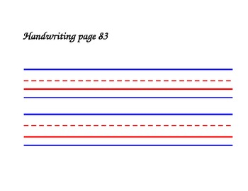 Colored Elementary Lined Handwriting Practice Template For
