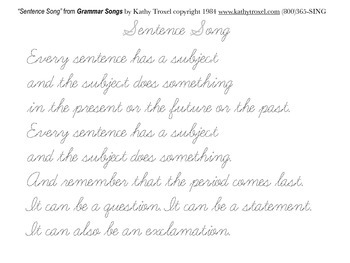 "Handwriting Practice pdf Reproducible - ""Sentence Song"""