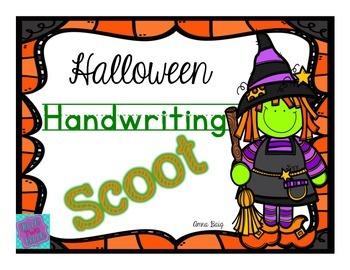 Handwriting Scoot- Halloween Themed Words - D'Nealian and