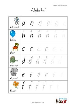 Handwriting: Sequential lowercase trace gradually faded letters