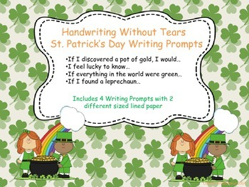 Handwriting Without Tears St. Patrick's Day Writing Prompts