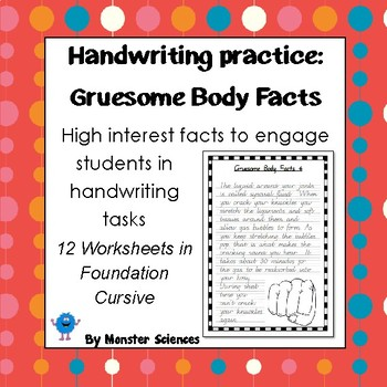 Handwriting Worksheet Bundle: Gruesome Body Facts - Founda