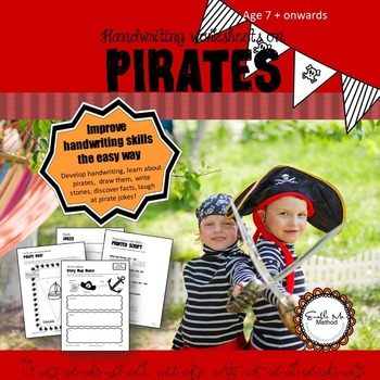 Cursive Handwriting Worksheets for 7 -11 years: Pirates