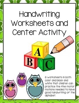 Fine motor/ Tracing Writing and Center Activities (Pre-Alphabet)