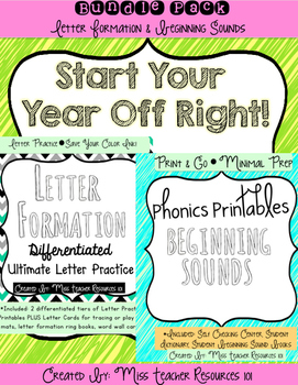 Handwriting and Beginning Sounds Bundle Pack