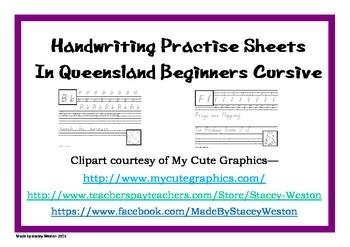 Handwriting for Prep (Kindergarten) - QLD beginner cursive script