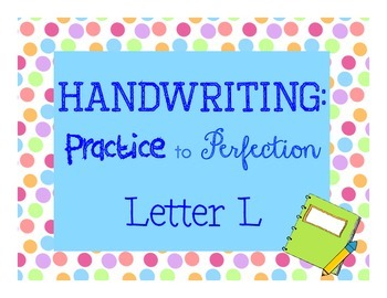 Handwriting workbook, Letter L