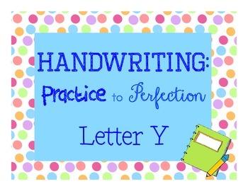 Handwriting workbook, Letter Y