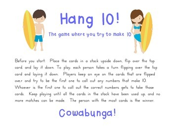 Hang 10: A sums of ten practice game