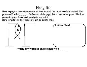Hangfish Hangman learning sight words fun game