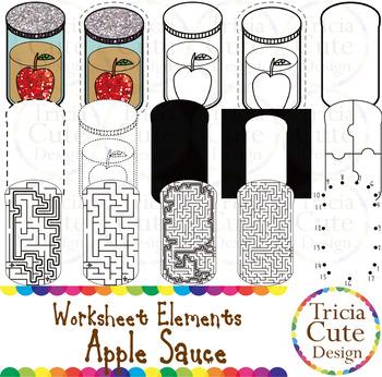 Hanukkah Apple Sauce Worksheet Elements Clip Art for Traci