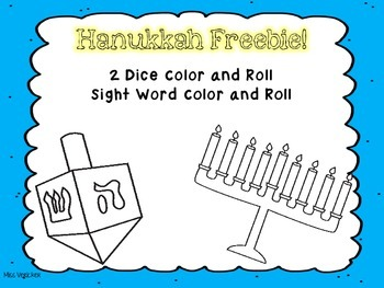 Hanukkah (Chanukah) Roll and Color Addition and Sight Word