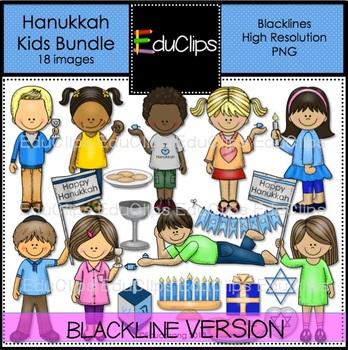 Hanukkah Kids Clip Art Bundle Blacklines