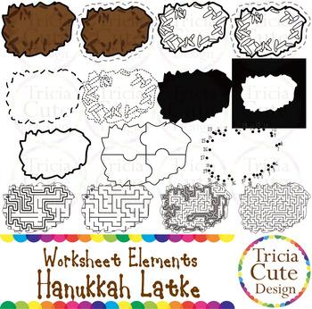Hanukkah Latke Jewish Food Worksheet Elements Clip Art for