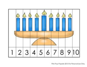 Hanukkah Number Counting Strip Puzzles - 5 Designs