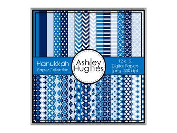 Hanukkah Paper Collection {12x12 Digital Papers for Commer