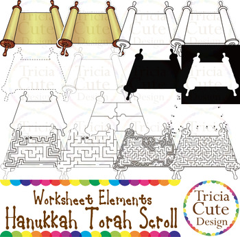 Hanukkah Torah Scroll Worksheet Elements Clip Art for Trac