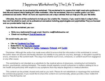 Happiness Worksheet