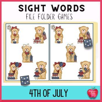 Happy Birthday America Sight Word File Folder Games