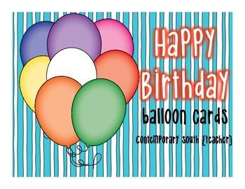 Happy Birthday Card FREEBIE {balloons}