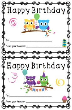 Happy Birthday Cards for your Students