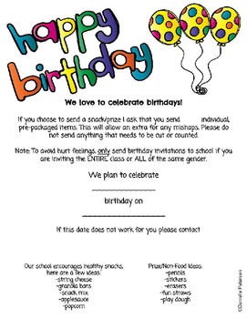 Happy Birthday Classroom Letter