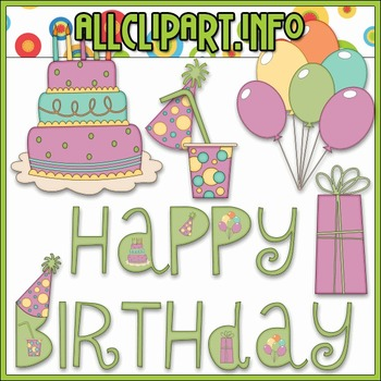 BUNDLED SET - Happy Birthday Clip Art & Digital Stamp Bundle